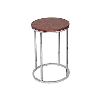 Gillmore Walnut And Silver Metal Contemporary Circular Side Table