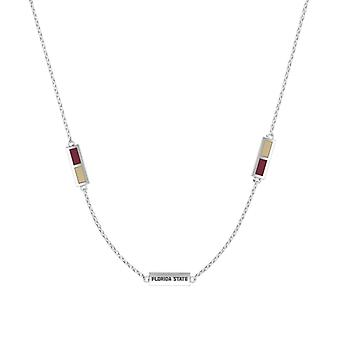 Florida State University Sterling Silver Engraved Triple Station Necklace In Red & Tan