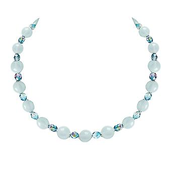 Eternal Collection Morning Dew Blue/Aquamarine Czech Crystal Necklace