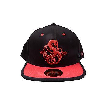 God of War Snapback Cap Nakışlı logo kırmızı /siyah, baskılı, % 100 pamuktan yapılmış.