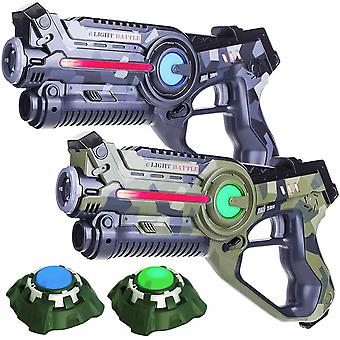 2 Laser guns (camo green, grey) + 2 targets
