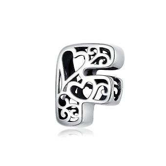 Sterling silver alphabet charm with hearts letter F