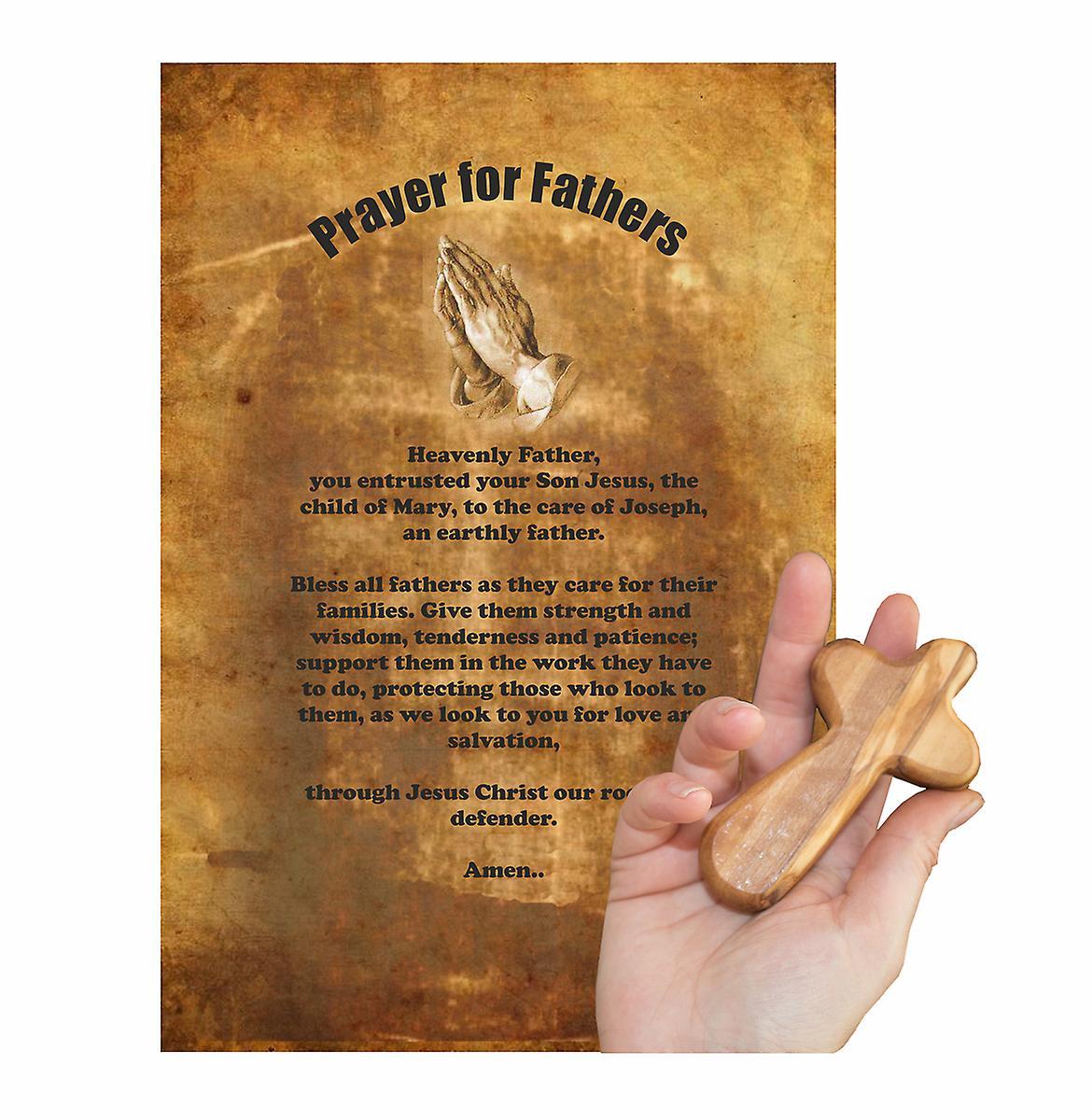 Prayer for Fatherhood Carved Olive Wood Comfort Cross Religious Keepsake Hand Made In Bethlehem