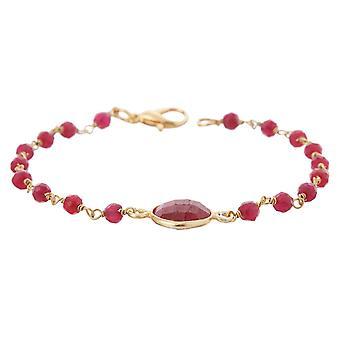 Gemshine armbånd med dybe røde Ruby ædelstene i 925 sølv eller forgyldt