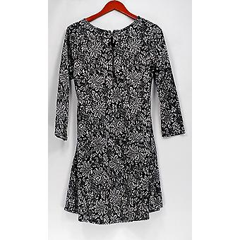 GK George Kotsiopoulos Dress 3/4 Bracelet Sleeve Floral Print Black A267837