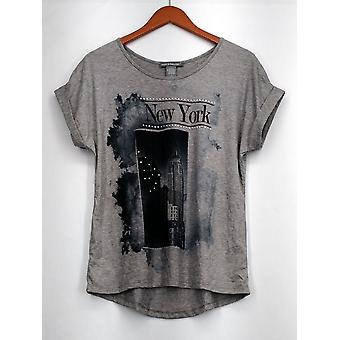 Kate & Mallory top verfraaid Graphic Tee Roll mouwen grijs Womens A416936