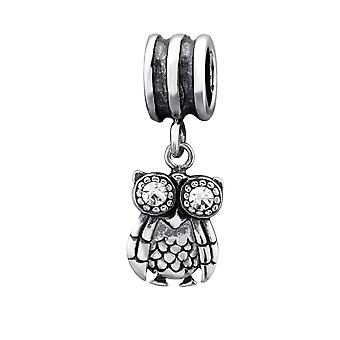 Owl - 925 Sterling Silver Jewelled Beads - W29554X