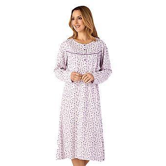 Slenderella ND4111 Women's Jersey Lilac Purple Floral Cotton Nightdress