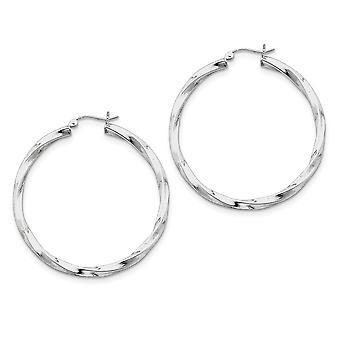 925 Sterling Zilver gepolijst holle buis scharnierende post 3.00mm Twisted Hoop Oorbellen Sieraden Geschenken voor vrouwen