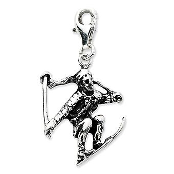 925 Sterling Silver Fancy Lobster Closure 3 d Skier With Lobster Clasp Charm Pendant Necklace Measures 32x17mm Jewelry G