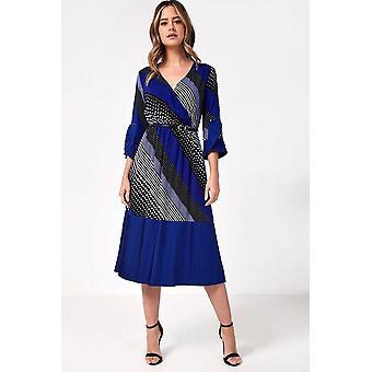 iClothing Naomi Midi Dress In Contrast Spot And Stripe Print-16