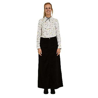 Fearne long corduroy skirt black