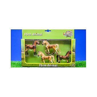 KidsGlobe  (Kids Globe) Kids Globe Farm Animals 4 Horses 1:32  570013