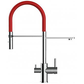 3 Way Kitchen Filter Sink Mixer With Red Spring Spout And 2 Jet Spray, Works With All Water Filter System - 135