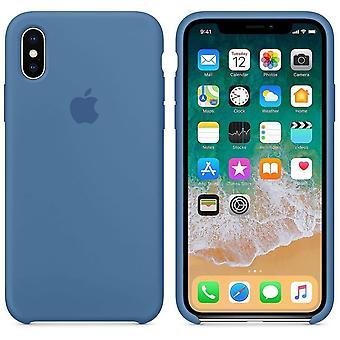 Alkuperäinen pakattu MRG22ZM/A omena silikoni-mikro kuitu kotelo iPhone X-deniminsininen