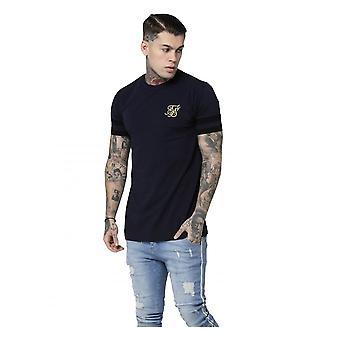 Sik Seide Ss Reverse Kragen Box T-Shirt Marine