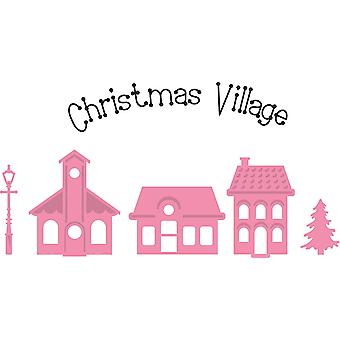 Marianne Design 6-Piece Christmas Mini Village Collectables Cutting Die and Clear Stamp Set, Pink