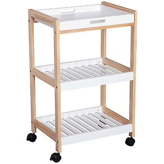 HOMCOM 3-Tier Mobile Kitchen Trolley Cart Bamboo Storage Shelves Rack Rolling Wheels White 46 x 35 x 74.5 cm