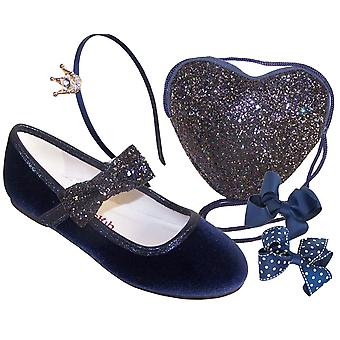 Girls dark blue velvet ballerina party shoes - Gift Set