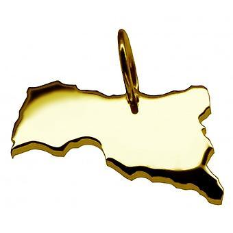 Hänge karta kedja hänge i guldgult-guld i form av CENTRALAFRIKA
