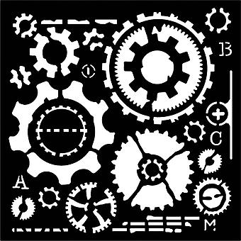 Woodware 6in x 6in Stencil Cogs