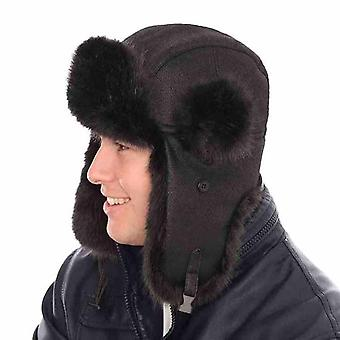 Neue Mens Womens Unisex Fell PU Leder Trapper warme Winter Thermal Hut AW111