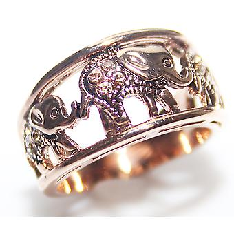 Attraente Rose Gold Over In acciaio inossidabile Graceful & Cute Elephant Design Charming Luck Ring.