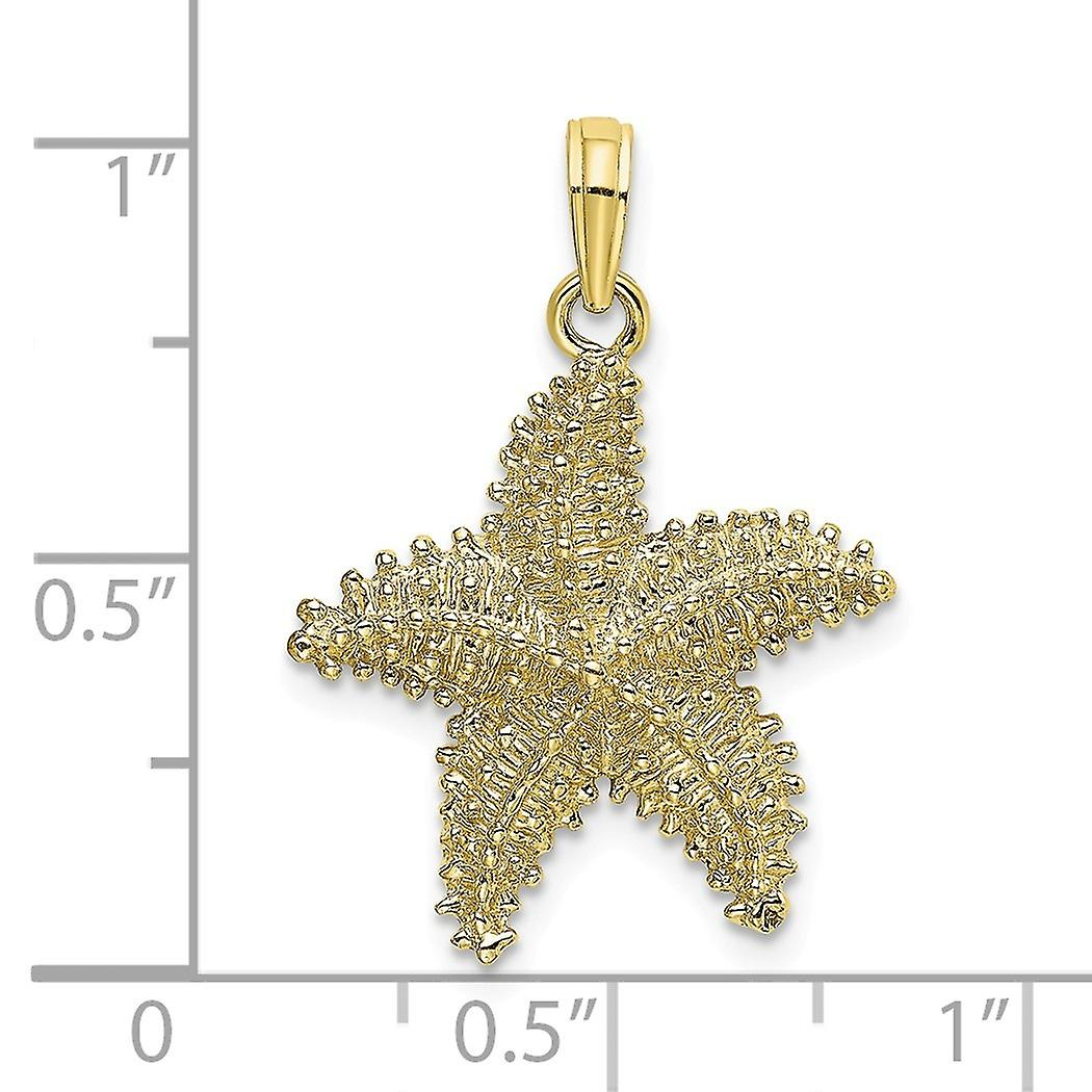 10k Gold Sea shell Nautical Starfish With Beaded Texture Charm Pendant Necklace Jewelry Gifts for Women