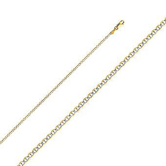 14 k Gold 2,0 mm flache Mariner mit Rhodium Pave Kette Halskette Schmuck Geschenke für Frauen - Länge: 16 bis 24