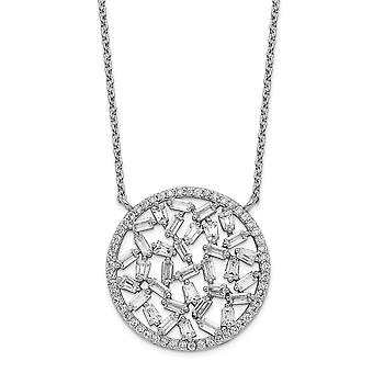 23.03mm Cheryl M 925 Sterling Silver CZ Cubic Zirconia Simulated Diamond Circle Necklace 18 Inch Jewelry Gifts for Women