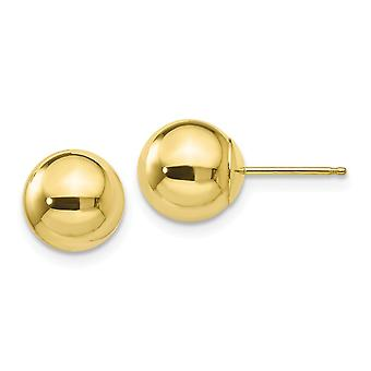10k Polished 8mm Ball Post Earrings Jewelry Gifts for Women - .5 Grams