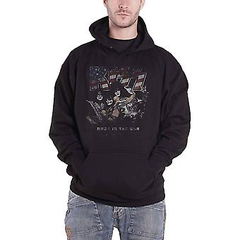 KISS Hoodie Made in the USA distressed Band Logo Official Mens Black Pullover