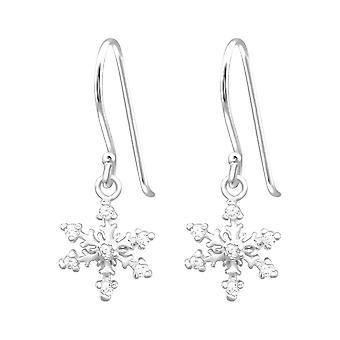 Sterling Silver Snowflake Cubic Zirconia Drop Earrings