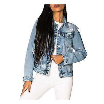 Women Denim Jeans Jacket Used Look Short stretch transition coat Slim Vintage