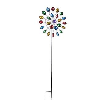 66 Inch Metal multicolored Spoon Windmill Rainbow Kinetic Wind Spinner Lawn Art