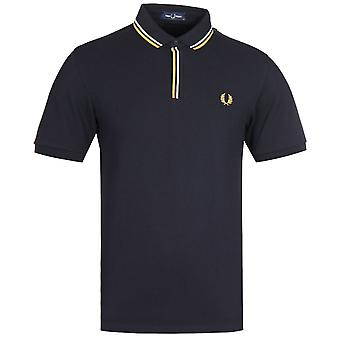 Fred Perry getipt Placket Zwart Polo Shirt