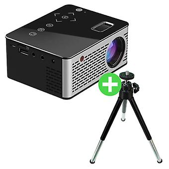 Stuff Certified® T200 LED Projector & Tripod - Mini Projector Home Media Player Black