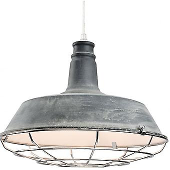 Firstlight Pacific Industrial Quirky Grey Open Grill Ceiling Pendant