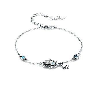 Bracelet Femme Main de Fatma orné de Cristal de Swarovski Blanc et bleu et Argent 925/1000 8115