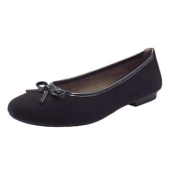 Soft Line 22164 Carla Wide Fit Smart Ballet Shoes In Black Suede