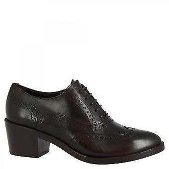 ليوناردو أحذية النساء & أبوس؛ق أحذية أكسفورد الكعب اليدوية في جلد العجل البني الداكن