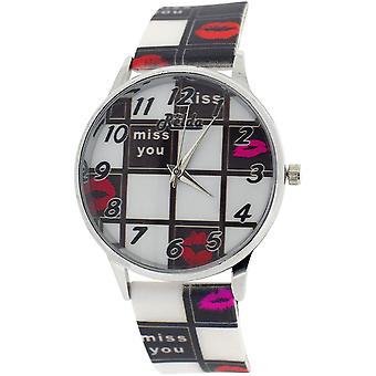 "Relda Ladies Analogue ""Miss You"" Black & White Dial & Silicone Strap Watch REL99"