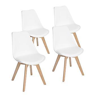 Wood4you - Frankfurt weißer Essstuhl - Pariso - Low - Sitzhöhe: 41 cm - 2 Stück