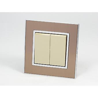 Ik LumoS AS luxe gouden satijnen metalen één Frame 2 bende 1 manier Rocker lichtschakelaars