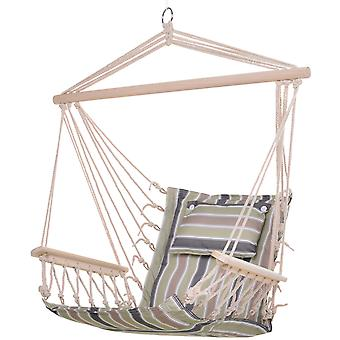Outsunny Garden Outdoor Hanging Hammock Chair Thick Rope Frame Wooden Arms Safe Wide Seat Garden Outdoor Spot Stylish Multi-Color Stripe