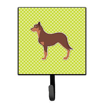 Australian Kelpie Dog Checkerboard Green Leash or Key Holder