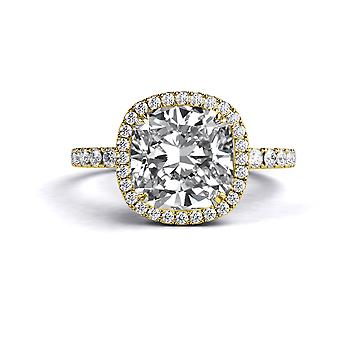 1.9 Carat E SI1 Diamond Engagement Ring 14K Yellow Gold Halo Micro Pave Cushion