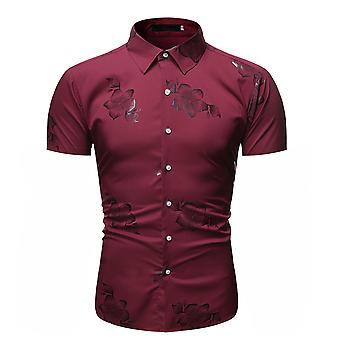 Allthemen Men's Bronzing Floral Printed Simple Fashion Short-Sleeved Shirt