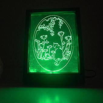 Oval blomsterhage katten farge endre fjernkontroll LED lys ramme