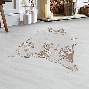 Cowhide Rug High Quality Faux Leather Imitation Washable Non-Slip Beige Cream